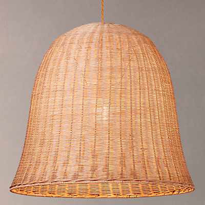 John Lewis Croft Collection Stanley Rattan Large Easy-to-Fit Ceiling Light, Brown/Natural
