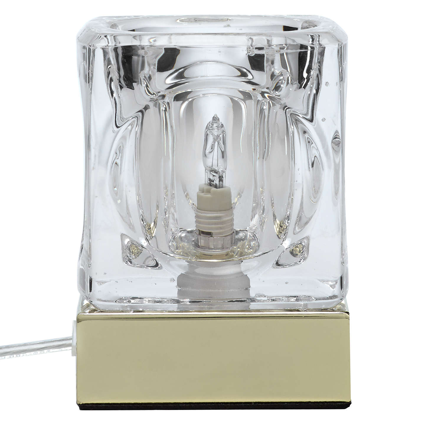 BuyJohn Lewis Cuboid 3-Stage Touch Table Lamp, Brass Online at johnlewis.com
