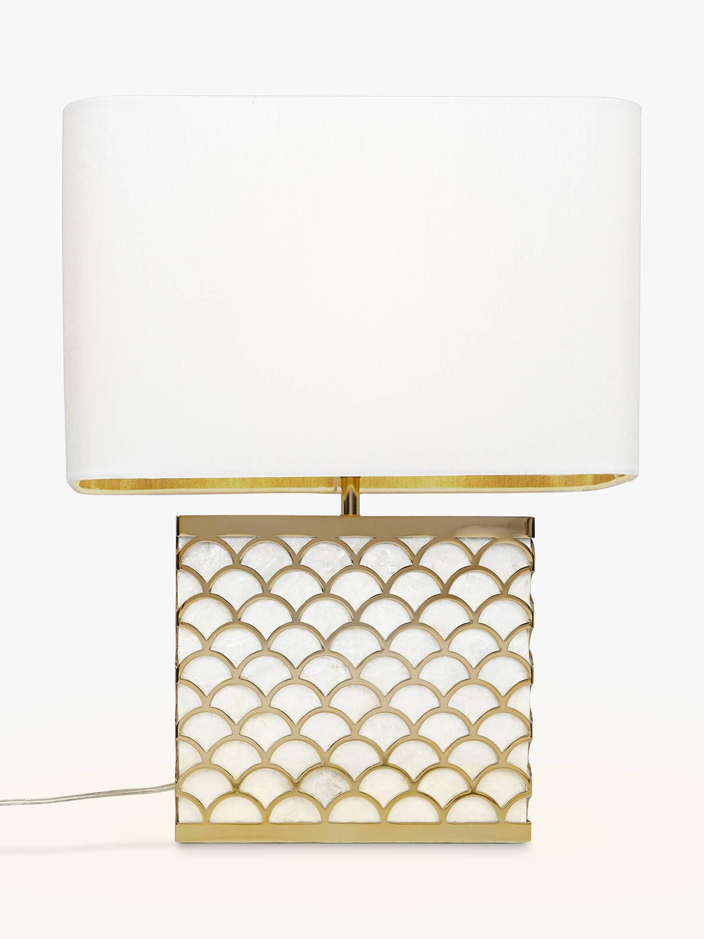 John Lewis Partners Delores Capiz Shell Table Lamp Satin Brass At