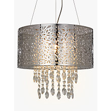 Buy John Lewis Destiny Crystal Fretwork Pendant Ceiling Light, Silver/Clear Online at johnlewis.com