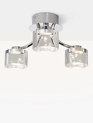 John Lewis & Partners Lawrence LED Bubble Flush Ceiling Light, 3 Light, Clear/Silver