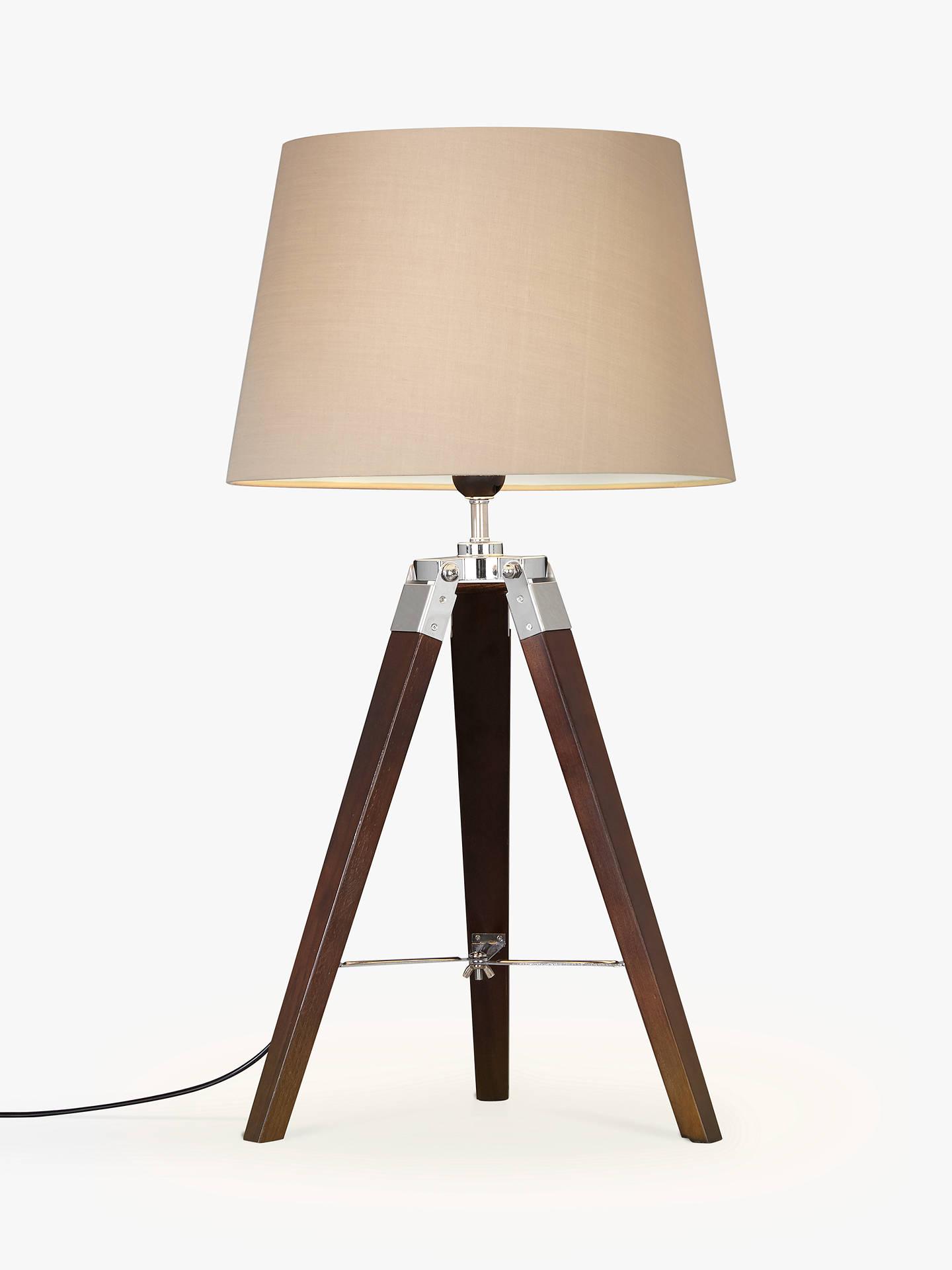 John Lewis Jacques Dark Wood Table Lamp Brown Online At Johnlewis