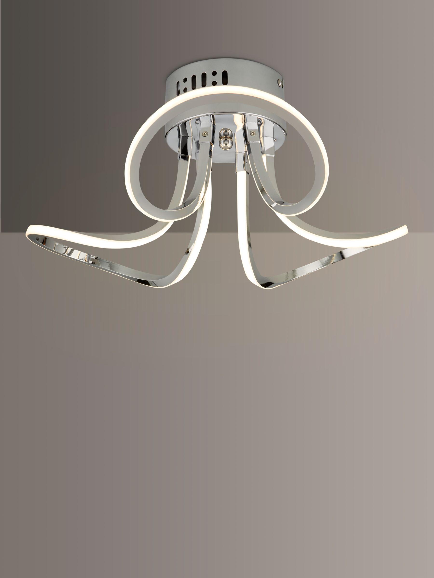 John Lewis Partners Ora Semi Flush Led Ceiling Light Silver Metallic
