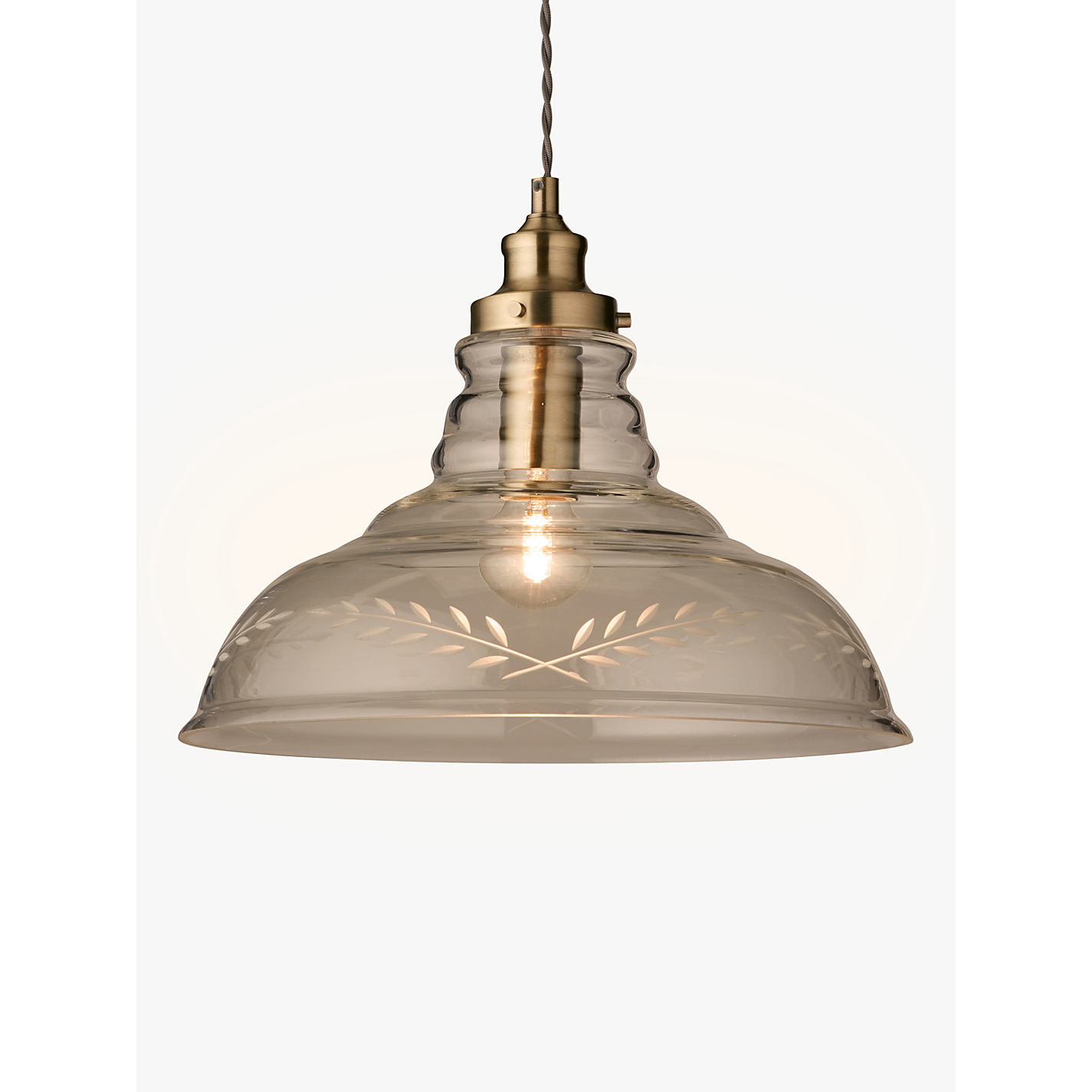 Buy john lewis hadley etched glass pendant ceiling light clear buy john lewis hadley etched glass pendant ceiling light clearantique brass online at aloadofball Gallery