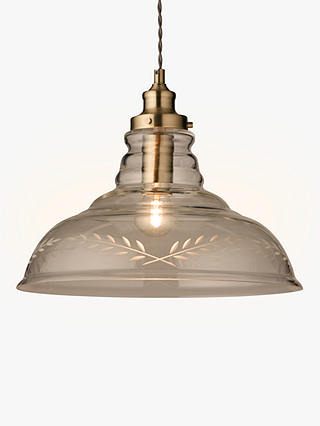 Buy John Lewis & Partners Hadley Etched Glass Pendant Ceiling Light, Clear/Antique Brass Online at johnlewis.com