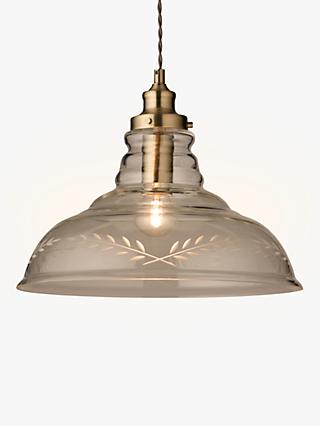 John Lewis & Partners Hadley Etched Glass Pendant Ceiling Light, Clear/Antique Brass