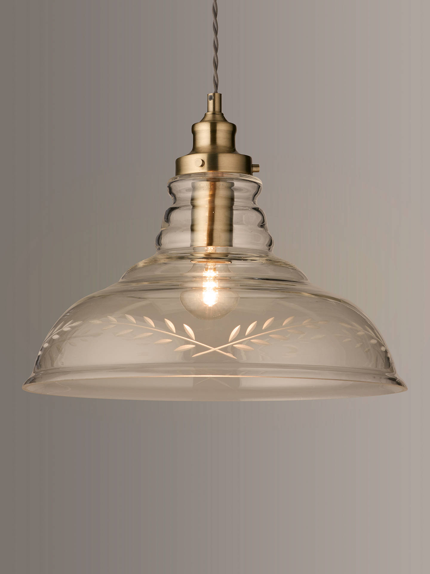 BuyJohn Lewis & Partners Hadley Etched Glass Pendant Ceiling Light, Clear/Antique Brass Online at johnlewis.com