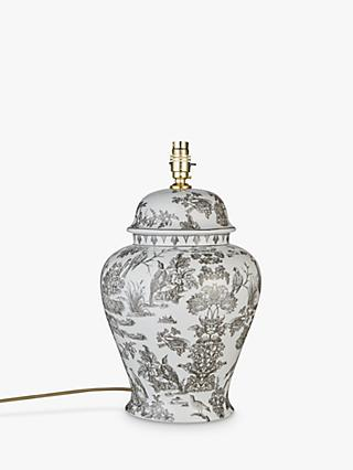 India Jane V&A Peacock Toile De Jouy Ceramic Lamp Base, Grey, H42cm