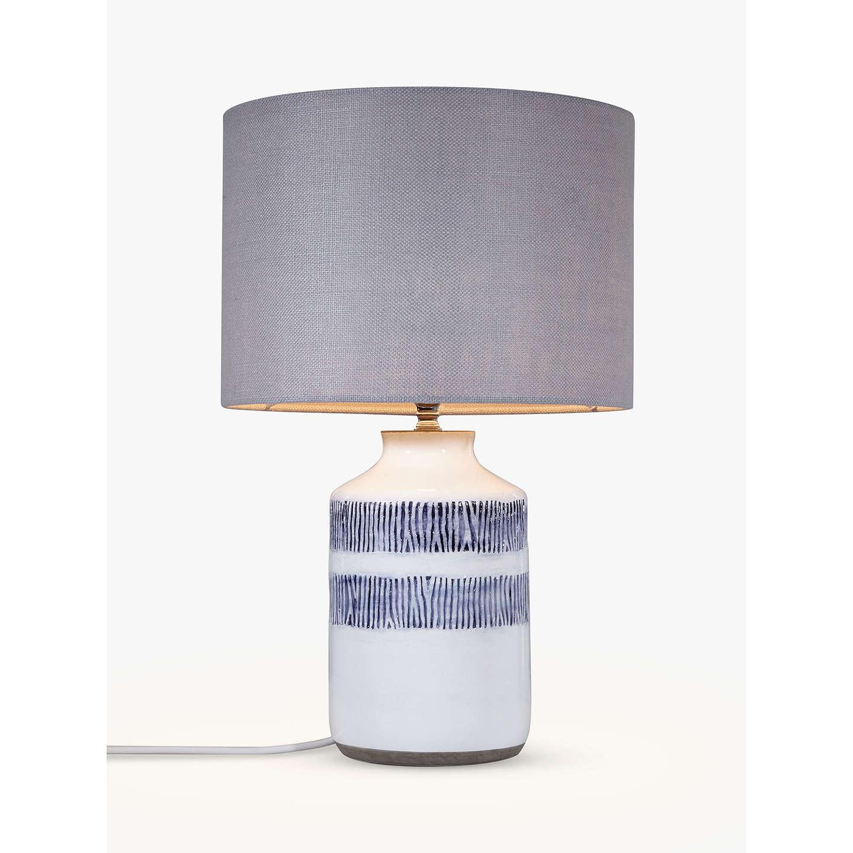 John Lewis Mandisa Stripe Lamp Base, White/Blue At John Lewis