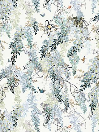 Sanderson Waterperry Wisteria Falls Wallpaper Aqua 216299, Panel B