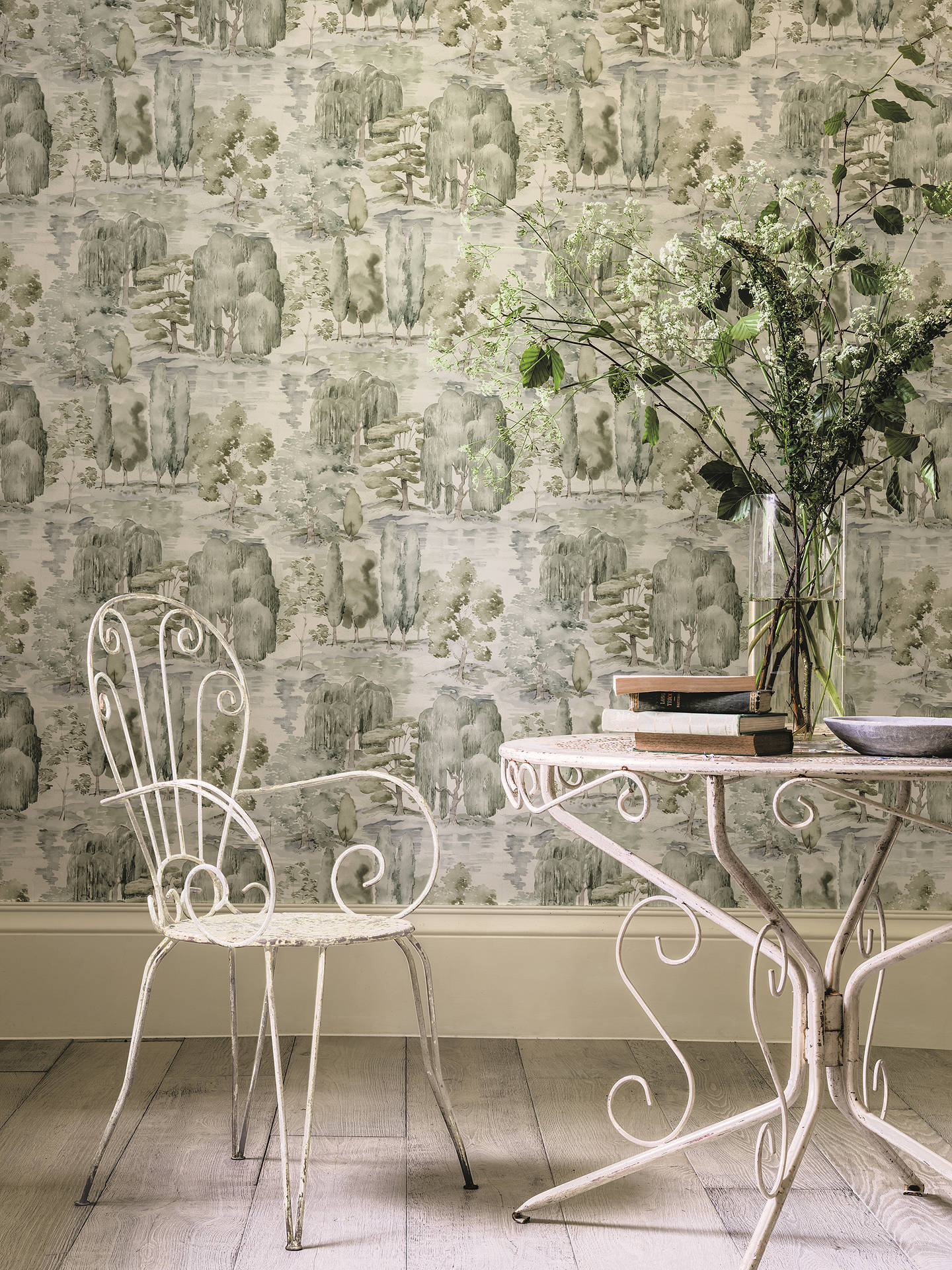 BuySanderson Waterperry Wallpaper, Willow / Olive DWAP216283 Online at johnlewis.com