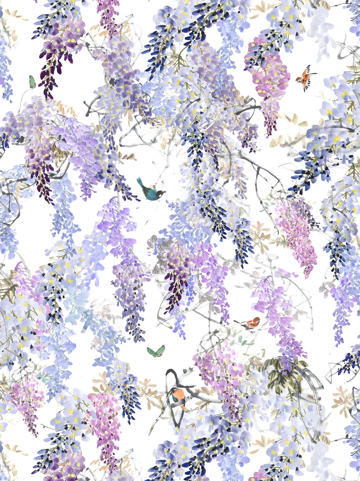 BuySanderson Waterperry Wisteria Falls Wallpaper Lilac 216297, Panel B Online at johnlewis.com