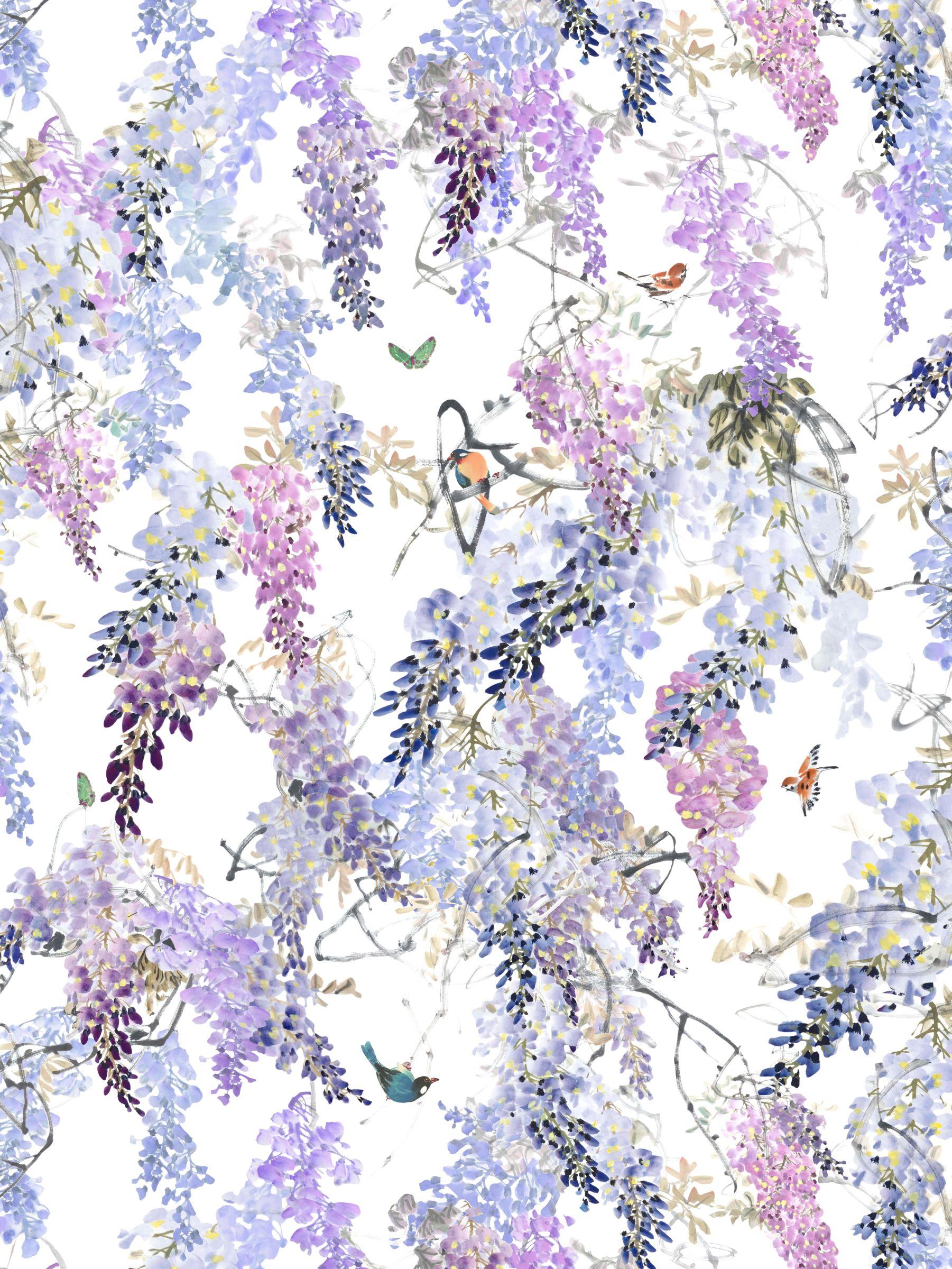 Sanderson Sanderson Waterperry Wisteria Falls Wallpaper Lilac 216296, Panel A