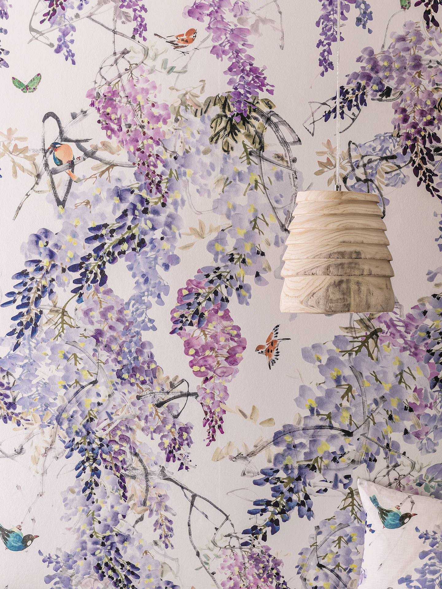 Buy Sanderson Waterperry Wisteria Falls Wallpaper Lilac 216296, Panel A Online at johnlewis.com