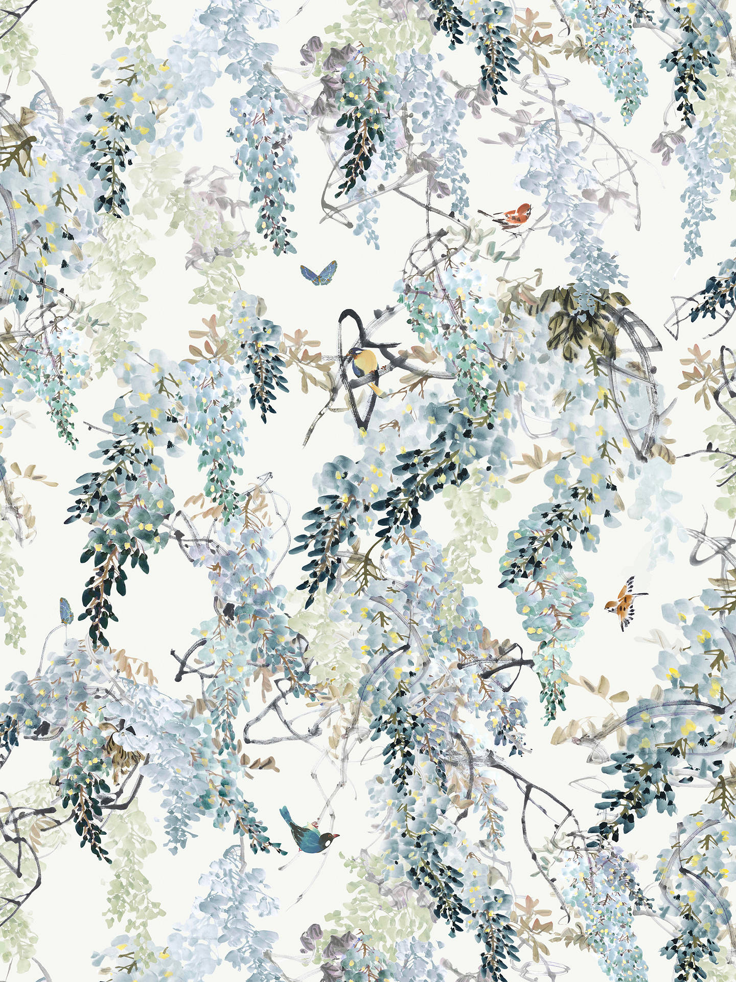 Buy Sanderson Waterperry Wisteria Falls Wallpaper Aqua 216298, Panel A Online at johnlewis.com