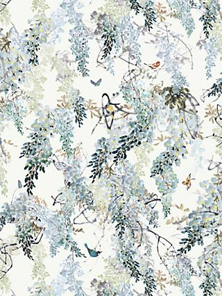 Sanderson Waterperry Wisteria Falls Wallpaper Aqua 216298, Panel A
