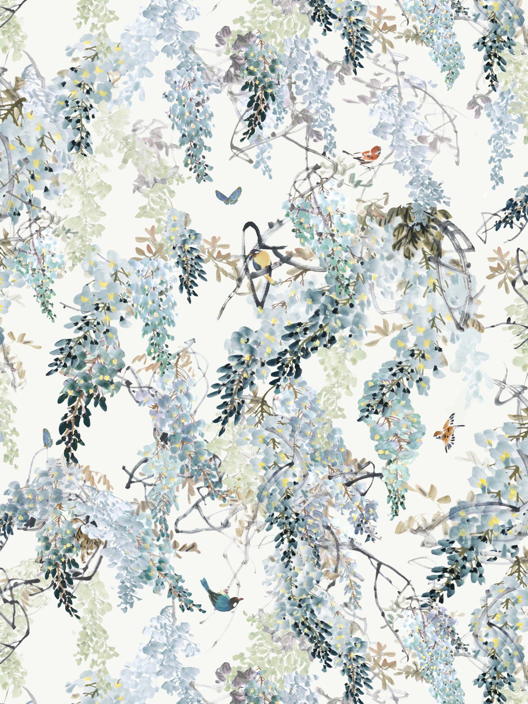 Sanderson Sanderson Waterperry Wisteria Falls Wallpaper Aqua 216298, Panel A
