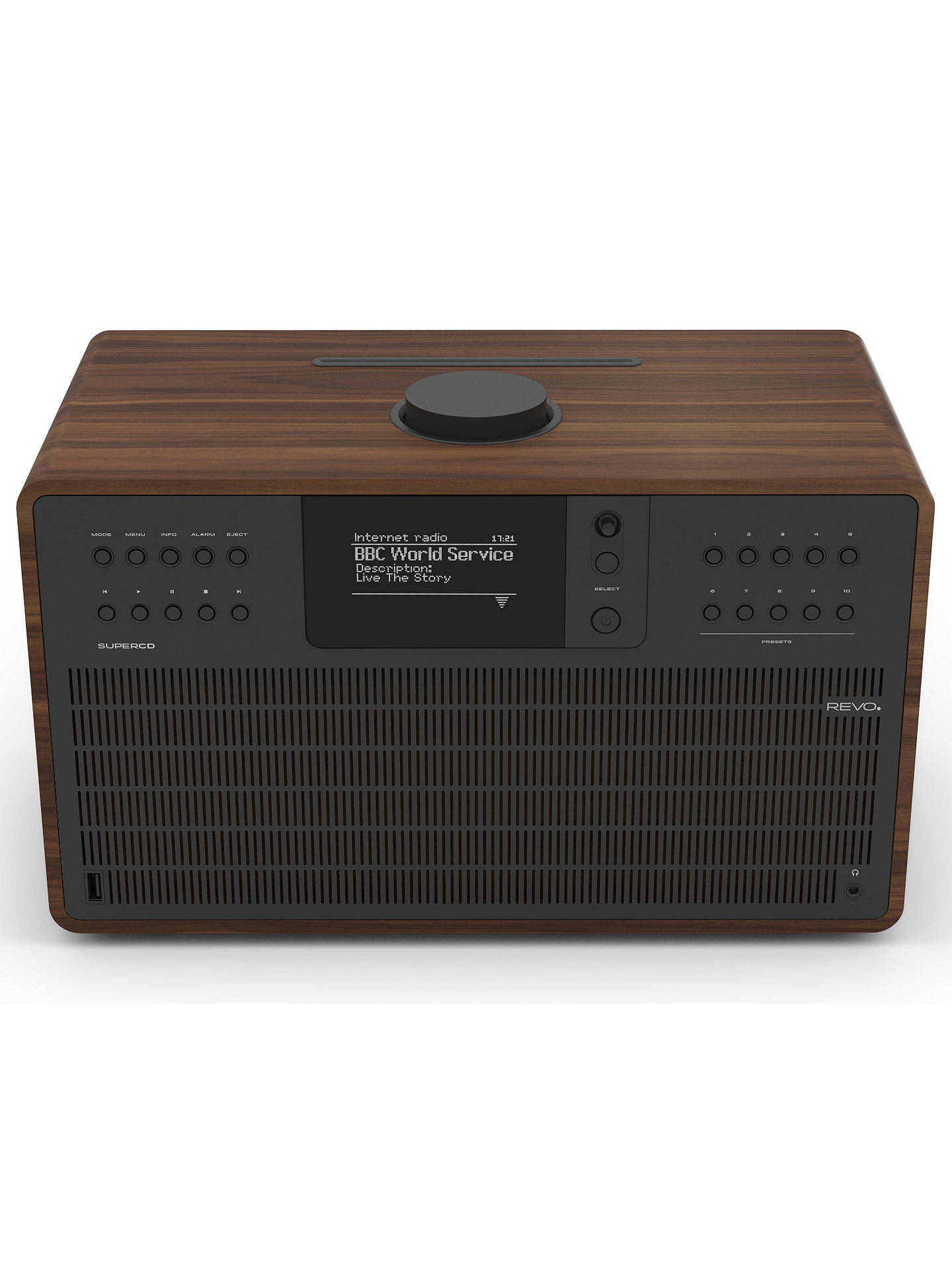 Buy Revo SuperCD DAB+/FM & Internet Radio All-In-One Music System with Wi-Fi, Bluetooth & Spotify Connect, Walnut/Black Online at johnlewis.com