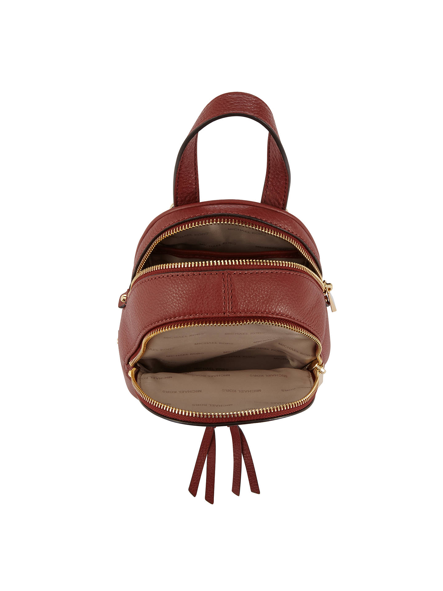 0f33bbca2fce ... spain buymichael michael kors rhea extra small leather backpack brick  online at johnlewis 70e06 c4632