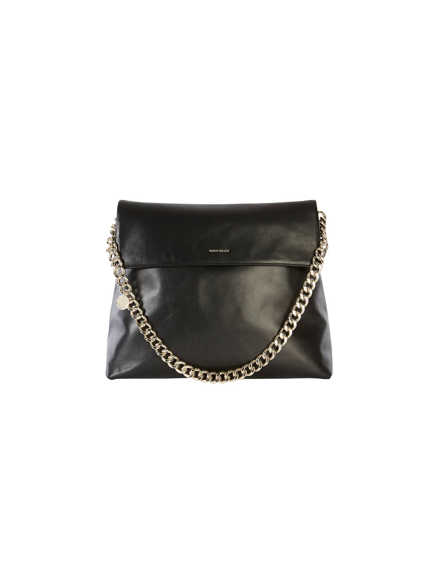 072f4c122ed Buy Karen Millen Leather Oversize Regent Shoulder Bag, Black Online at  johnlewis.com ...