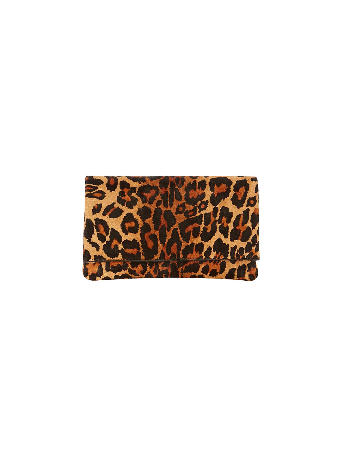 5238855922ba Buy Karen Millen Leopard Print Leather Brompton Clutch Bag, Multi Online at  johnlewis.com ...