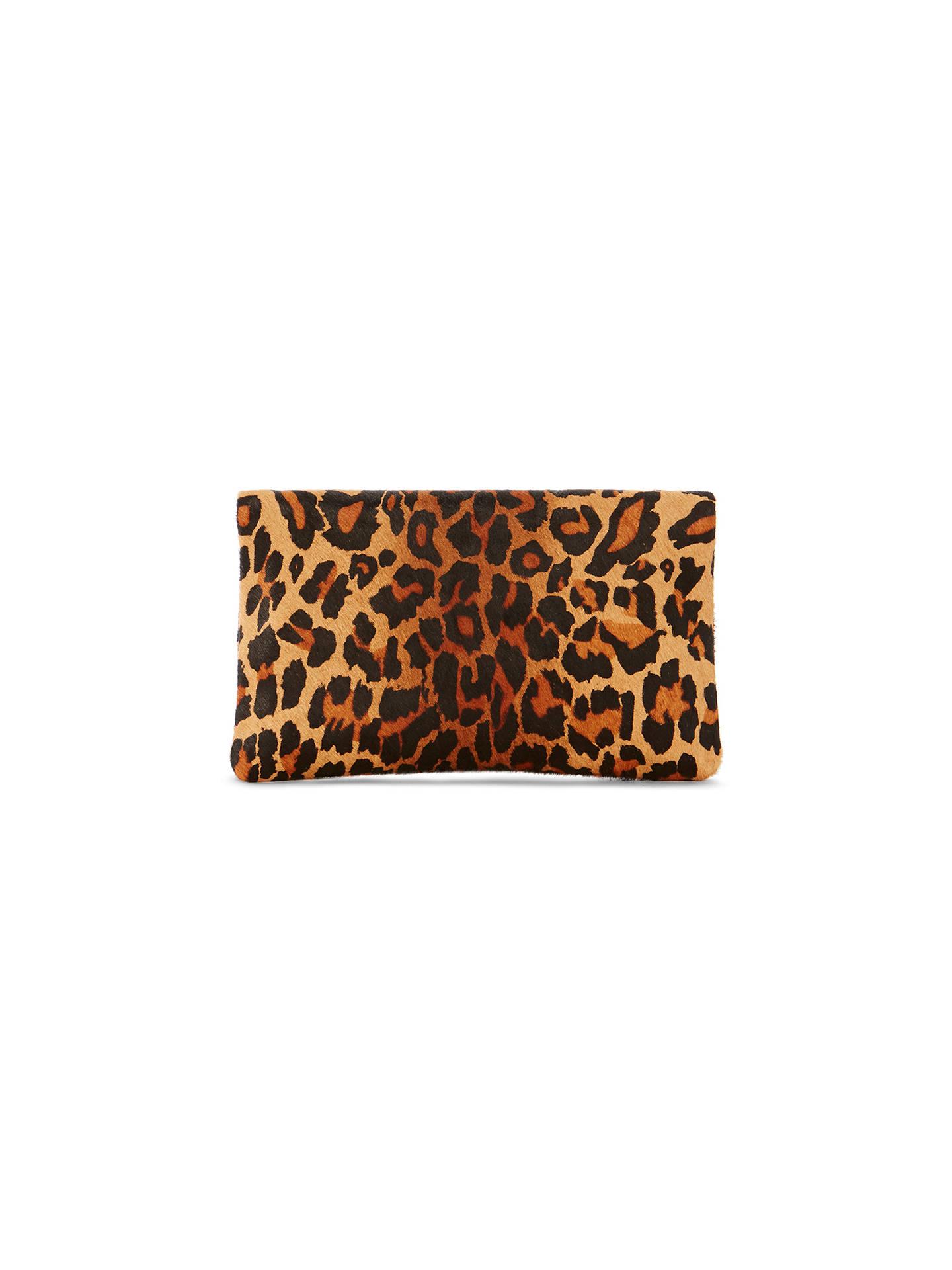 e9ccddded588 ... Buy Karen Millen Leopard Print Leather Brompton Clutch Bag, Multi  Online at johnlewis.com ...