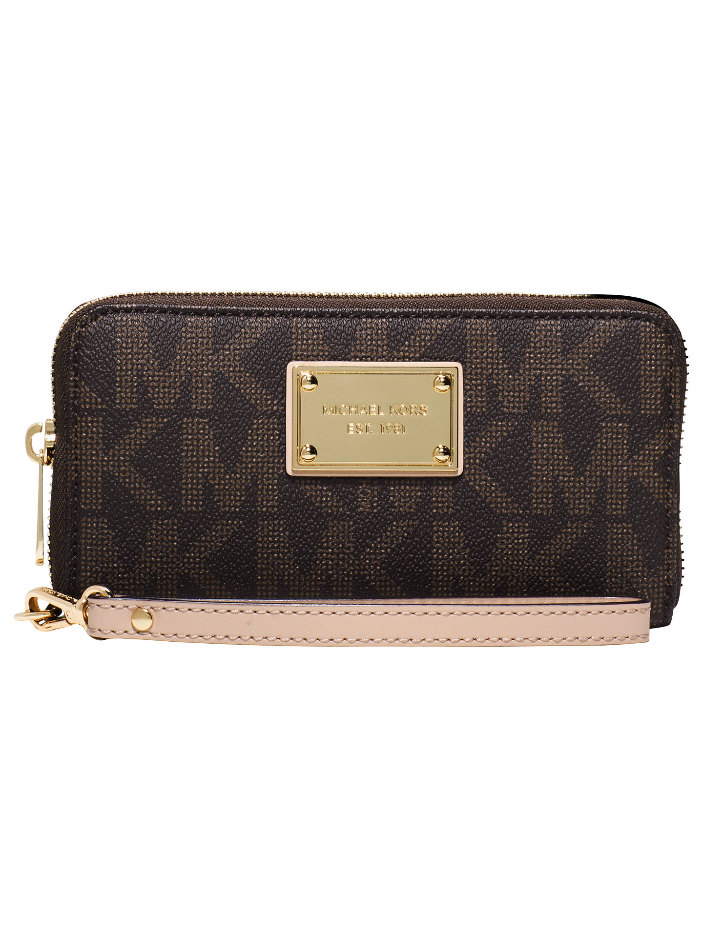 baa46d837d3123 Buy MICHAEL Michael Kors Jet Set Travel Large Smartphone Wristlet, Brown  Online at johnlewis.