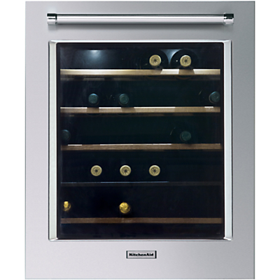 KitchenAid KCBWX70600L Built-In Wine Cabinet, A Energy Rating, 56cm Wide, Left-hand Hinge, Inox Steel