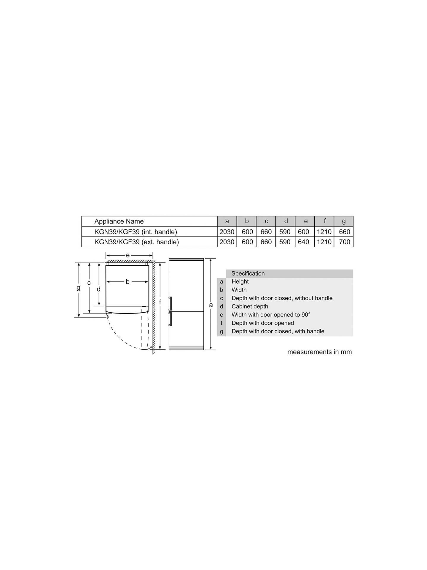 Bosch Kgn39vw35g Freestanding Fridge Freezer A Energy Rating 60 Door Alarm Circuit Diagram Buybosch Cm Wide White Online