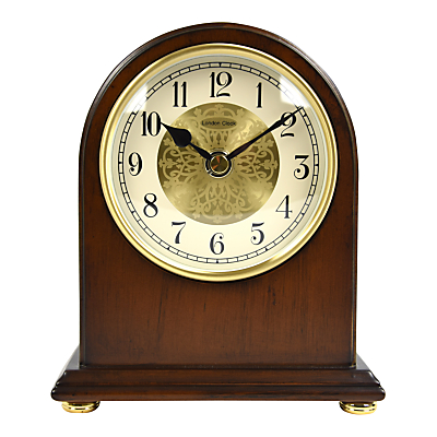 London Clock Company Arch Top Mantel Solid Wood Clock, Walnut