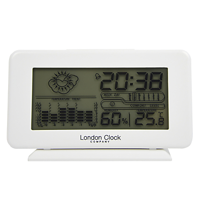London Clock Company Weather Station Clock, White