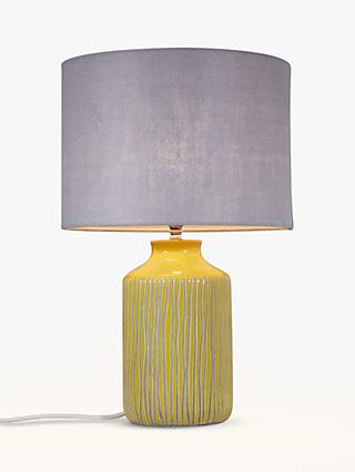 John Lewis & Partners Afra Striped Stoneware Lamp Base, Saffron