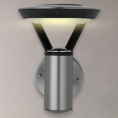 John Lewis Outdoor Solar LED Stainless Steel Wall Light, Clear/Black