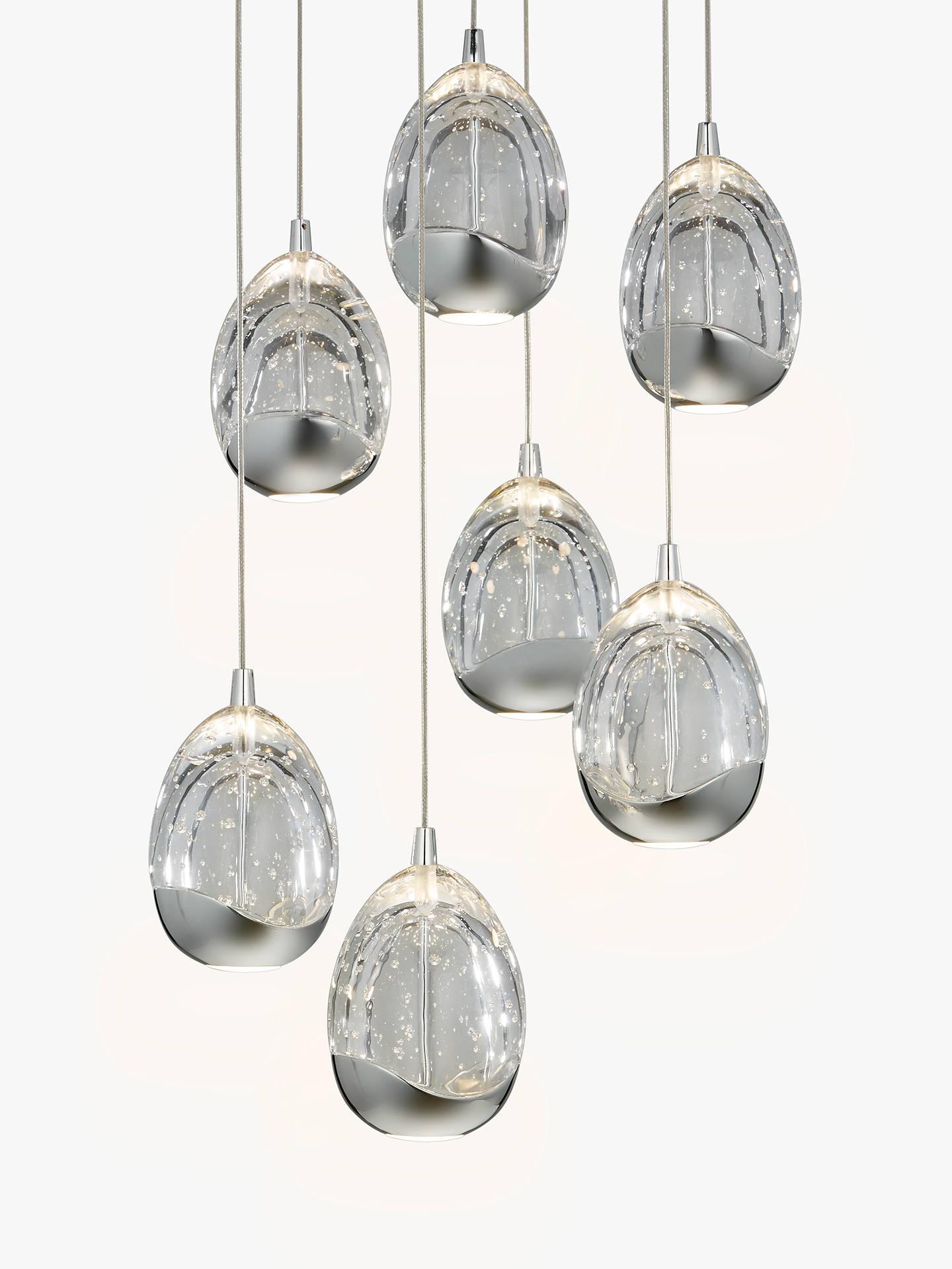 John Lewis & Partners Droplet Led Pendant Ceiling Light, 7 Light, Chrome by John Lewis & Partners