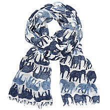 Buy John Lewis Elephant Print Scarf, Blue Mix Online at johnlewis.com