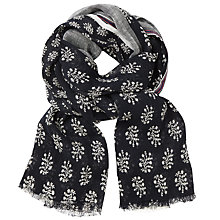 Buy John Lewis Sprig Print Scarf, Navy/Grey Online at johnlewis.com
