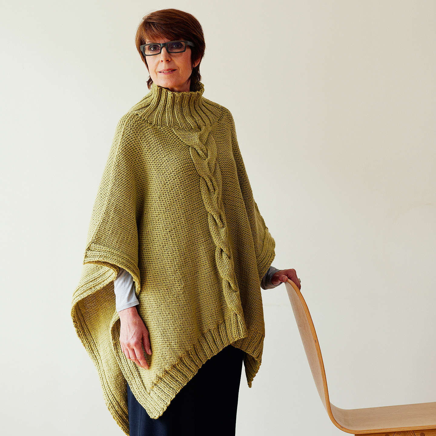 Erika Knight for John Lewis Women\'s Cable Poncho Knitting Pattern at ...