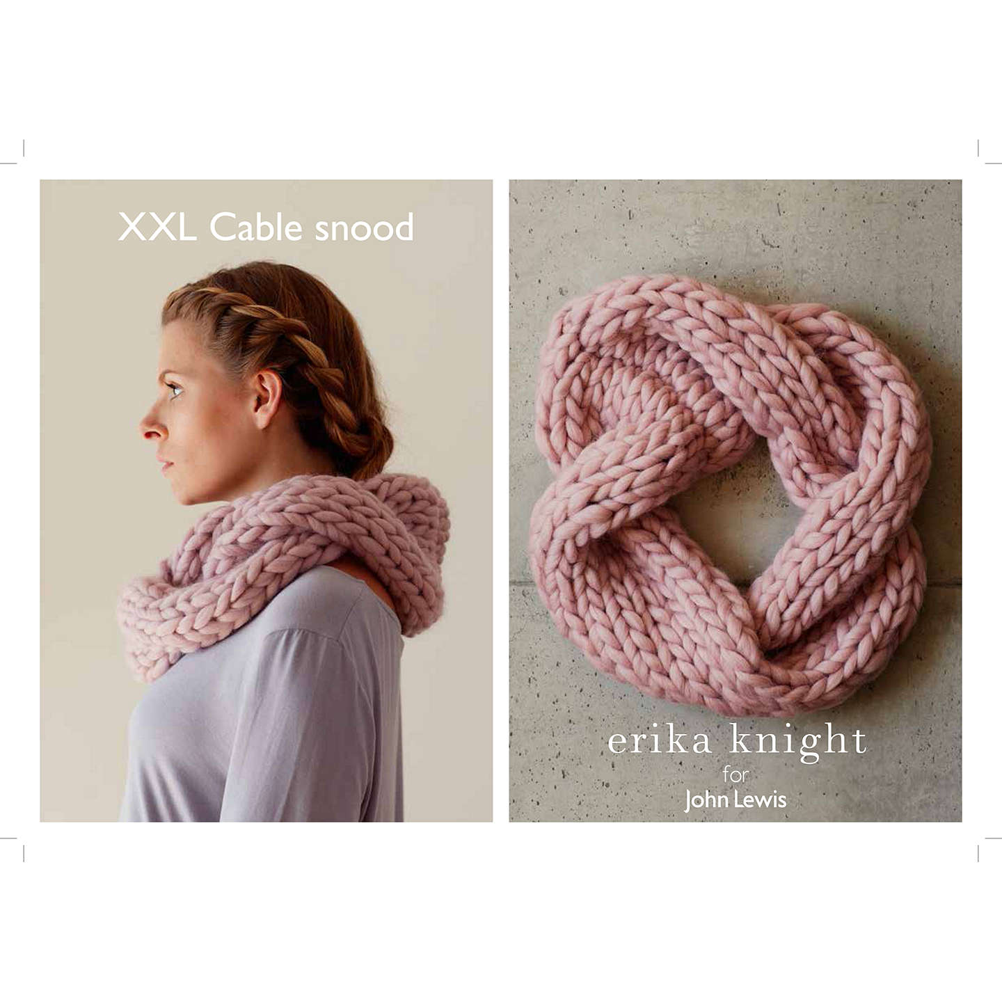 Erika Knight for John Lewis XXL Cable Snood Knitting Pattern at John ...