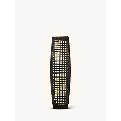 John Lewis Large Outdoor Solar LED Rattan Lantern, Grey