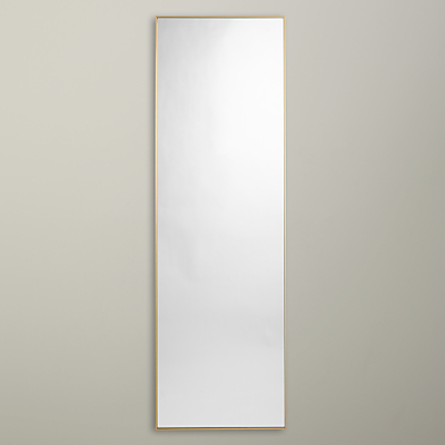 John Lewis Brushed Metal Full Length Mirror, 130 x 41cm, Brass