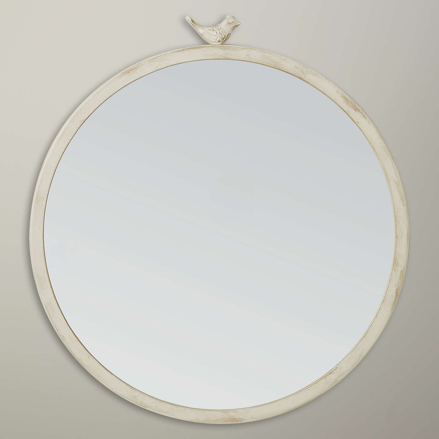 John Lewis Distressed Brass Bird Round Mirror Dia 40cm White At Johnlewis