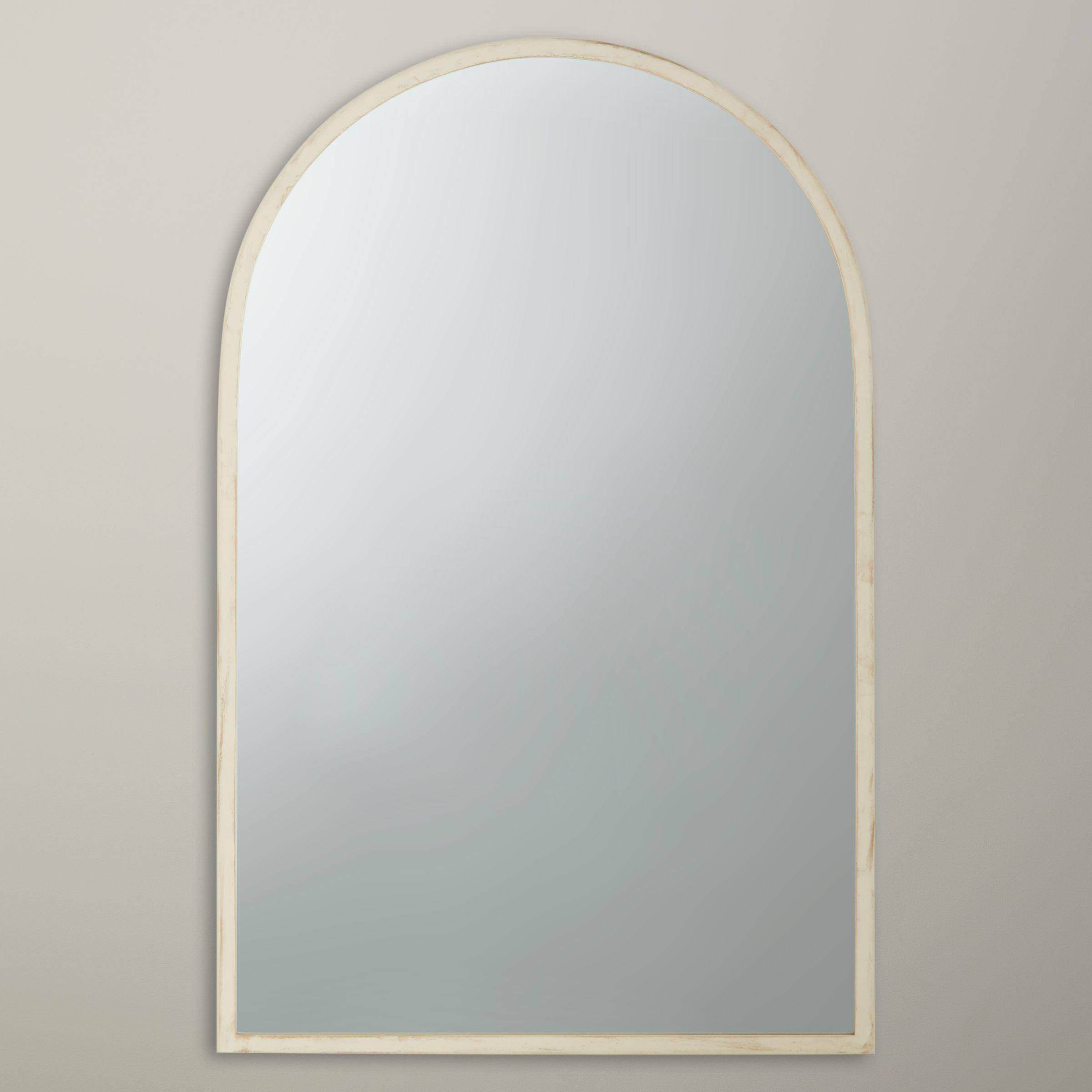 John Lewis Distressed Brass Arch Mirror White 71 X 40cm At John Lewis Partners