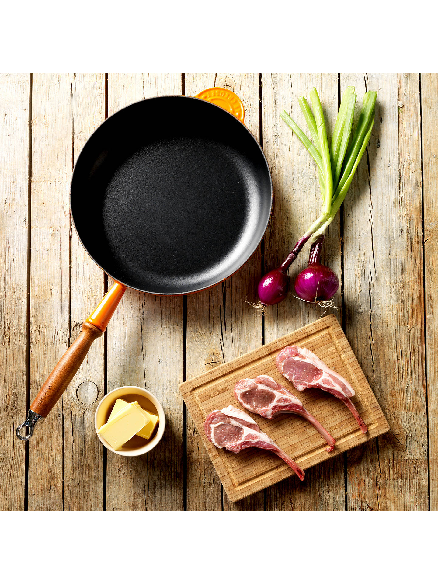 Buy Le Creuset 26cm Cast Iron Frying Pan with Wood Handle, Volcanic Online at johnlewis.com