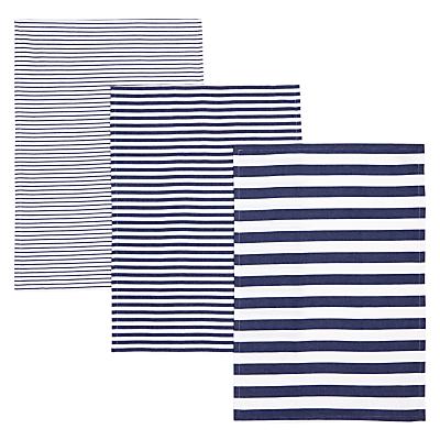 John Lewis Coastal Stripe Tea Towels, Set of 3