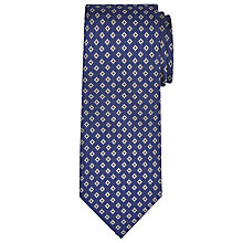 Buy John Lewis Woven in Italy Diamond Print Silk Tie, Navy Online at johnlewis.com