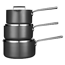 Buy Design Project by John Lewis No.094 Hard Anodised Saucepan Set, Set of 3 Online at johnlewis.com