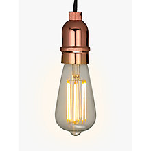 Buy John Lewis Bulb Holder Black Cord, Copper Online at johnlewis.com