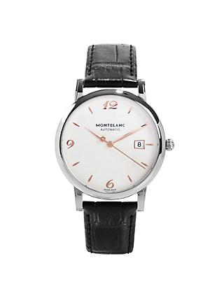 Montblanc 110717 Men's Star Date Automatic Leather Strap Watch, Black/White