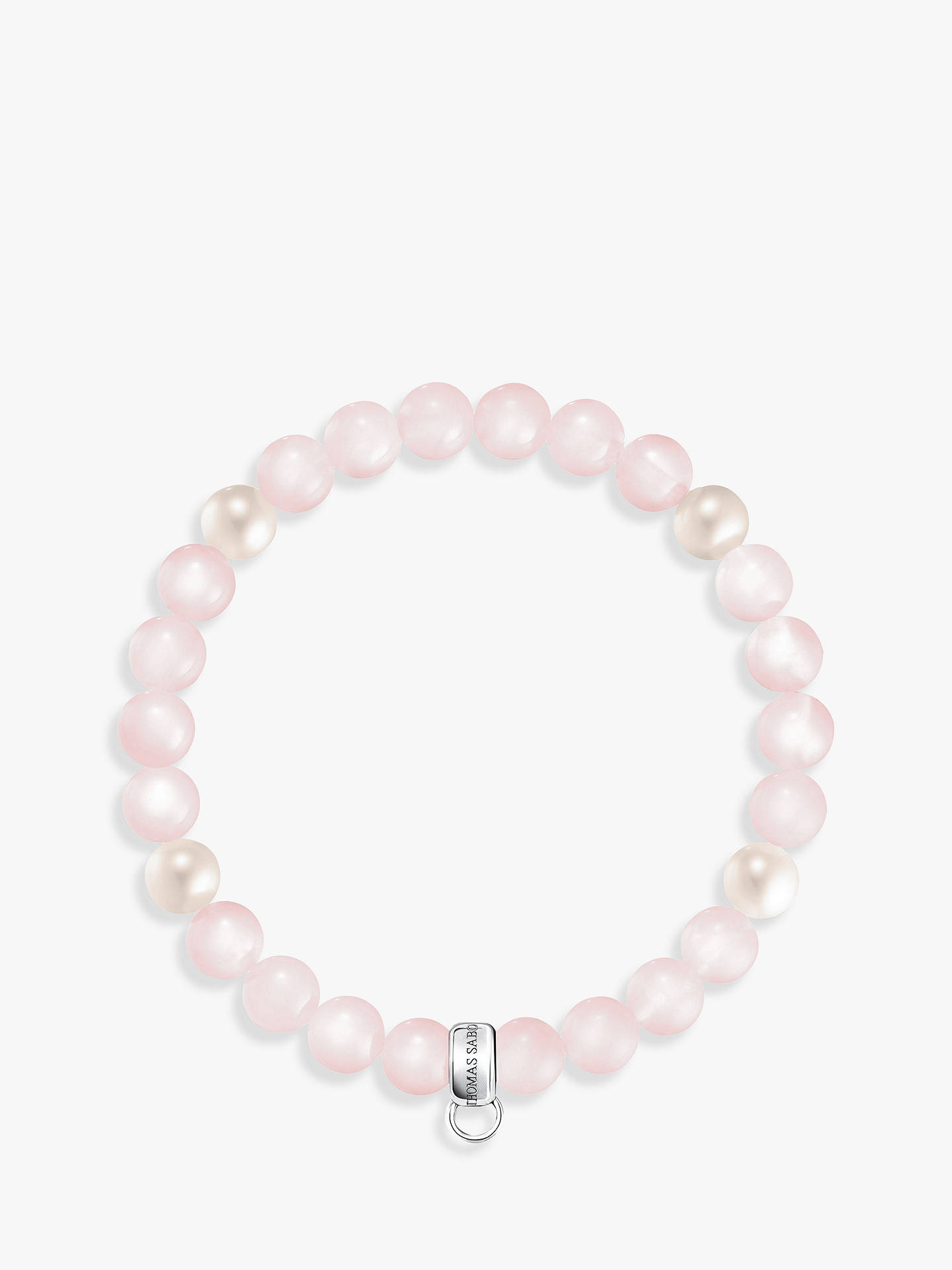 BuyTHOMAS SABO Rose Quartz and Freshwater Pearl Charm Bracelet, Blush/Cream Online at johnlewis.com