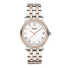 Buy Montblanc 114369 Men's Tradition Date Two Tone Bracelet Strap, Silver/Rose Gold Online at johnlewis.com
